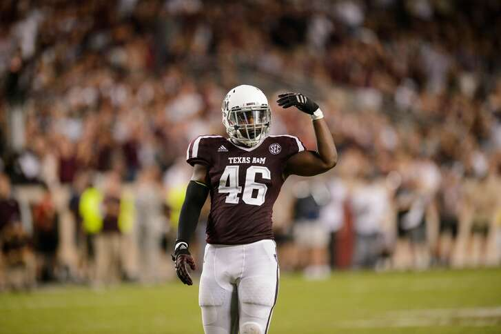 COLLEGE STATION, TX - OCTOBER 07:  Texas A&M Aggies defensive lineman Landis Durham (46) gets ready for a play during the college football game between the Alabama Crimson Tide and the Texas A&M Aggies on October 7th, 2017 at Kyle Field in College Station, TX.  (Photo by Daniel Dunn/Icon Sportswire via Getty Images)