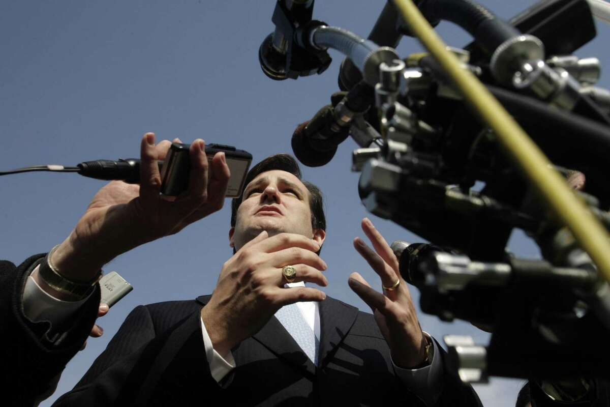 FILE ?- Texas Solicitor General Ted Cruz speaks to reporters in front of the Supreme Court building in Washington after arguing a redistricting case, March 1, 2006. Within months of his 2003 appointment to the post of solicitor general, Cruz set about transforming the apolitical office into an aggressively ideological, attention-grabbing one. (Michael Temchine/The New York Times)
