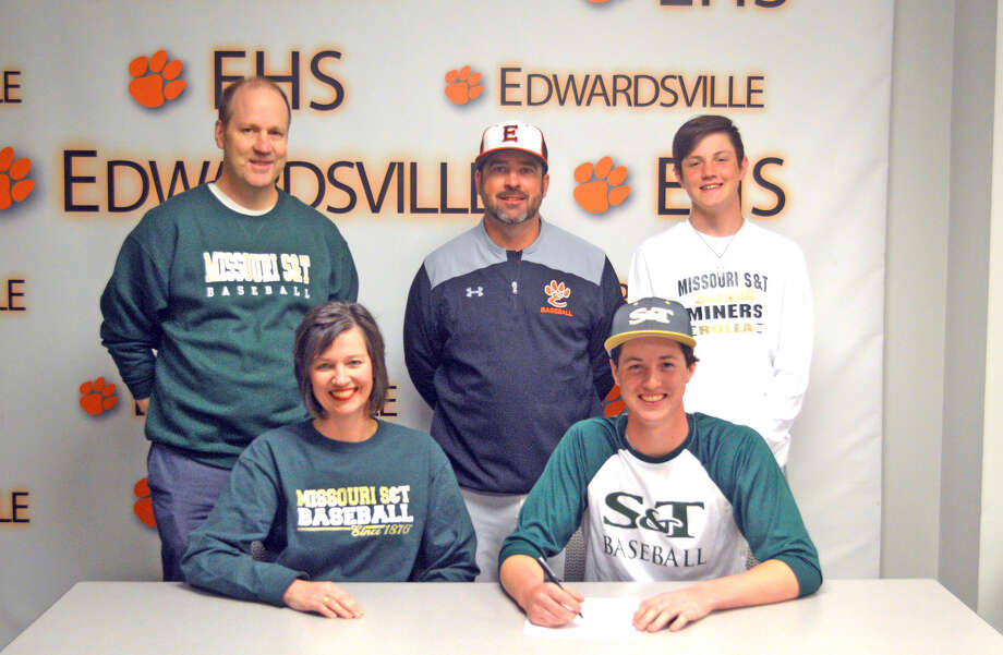 Edwardsville senior Cole Hampton will play baseball at Missouri University of Science and Technology. In the front row, from left to right, are mother Holly Hampton and Cole Hampton. In the back row, from left to right, are father Rich Hampton, EHS coach Tim Funkhouser and brother Ryan Hampton.