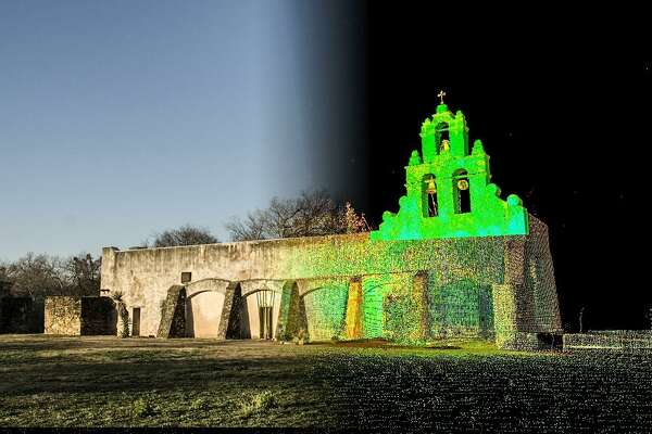 Mission San Juan church pictured with an overlay showing the 3-D scanning technology that captured millions of data points. San Juan is one of several San Antonio missions featured in the Open Heritage project, a collection of 3-D scans and other digital looks at the world's landmarks.