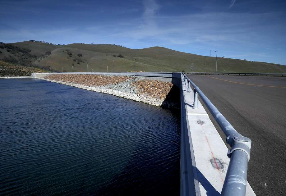 The dam at Los Vaqueros Reservoir in Brentwood, Calif., on Friday Feb. 2, 2018. More than a dozen local water agencies are trying to tap a windfall of state funds to expand Los Vaqueros Reservoir into a regional giant that serves San Francisco and Silicon Valley. Photo: Michael Macor / The Chronicle