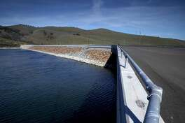 The dam at Los Vaqueros Reservoir in Brentwood, Calif.,  on Friday Feb. 2, 2018. More than a dozen local water agencies are trying to tap a windfall of state funds to expand Los Vaqueros Reservoir into a regional giant that serves San Francisco and Silicon Valley.