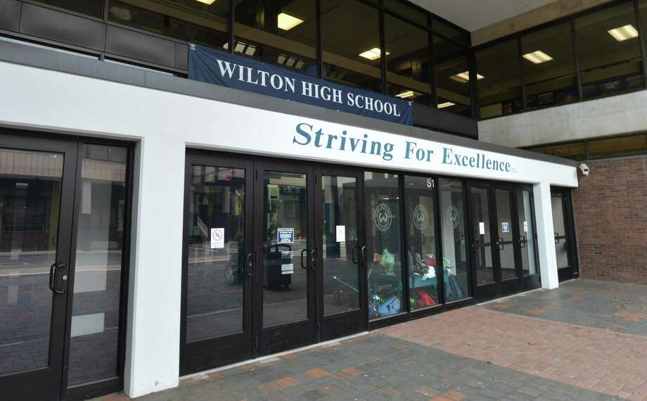 The main entrance at Wilton High School on Tuesday . Photo: Alex Von Kleydorff / Hearst Connecticut Media / Norwalk Hour