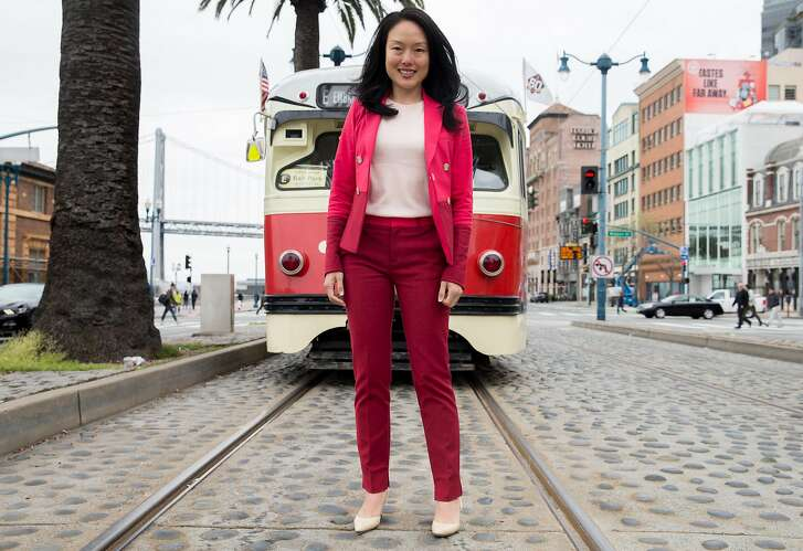 Mayoral candidate and District 6 Supervisor Jane Kim poses for a portrait along the E Line on the Embarcadero Wednesday, April 18, 2018 in San Francisco, Calif.