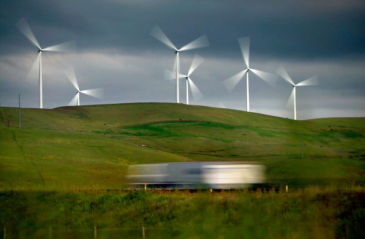 Wind turbines dot the hills east of Livermore, Caif., on Wed. April 18, 2018.