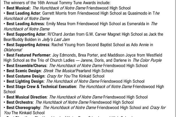 The winners from the 2018 Tommy Tunes awards.