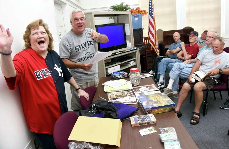 Babe Ruth's granddaughter, Linda Ruth Tosetti, speaks at a 2016 meeting of the Silver Sluggers in the Derby Public Library. Rich Marazzi, the Sluggers manager, will take them on a trip to Baltimore to the Babe Ruth Museum and a game at Camden Yards. Photo: /