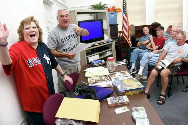 Babe Ruth's granddaughter, Linda Ruth Tosetti, speaks at a 2016 meeting of the Silver Sluggers in the Derby Public Library. Rich Marazzi, the Sluggers manager, will take them on a trip to Baltimore to the Babe Ruth Museum and a game at Camden Yards.