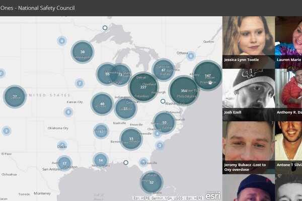 National Safety Council map of people who have died from opioids.