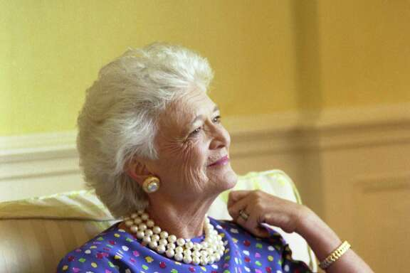 Official portrait of Barbara Pierce Bush, taken in the residence of the White House, 1989.