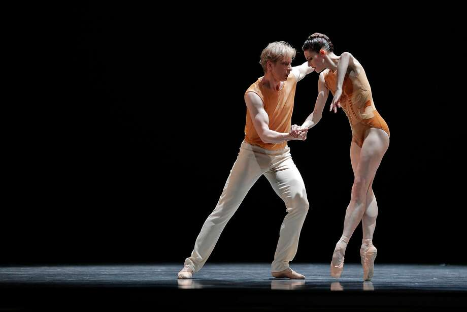"""Above: Ulrik Birkkjaer (left), Mathilde Froustey and Sarah Van Patten rehearse Cathy Marston's """"Snowblind"""" for San Francisco Ballet's new- works festival Unbound.  Left: Dancers rehearse Alonzo King's """"The Collective Agreement"""" for the program. Photo: Carlos Avila Gonzalez / The Chronicle"""