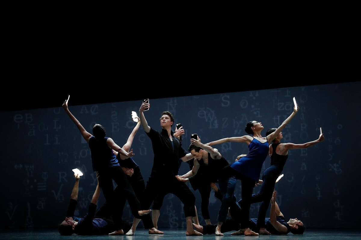 """Dancers perform in Christopher Wheeldon's """"Bound To�,"""" during a dress rehearsal for Program A of Unbound the New Works Festival at San Francisco Ballet in San Francisco, Calif., on Thursday, April 19, 2018. The work contains arrangements by choreographers Christopher Wheeler, Justin Peck, and Alonzo King."""