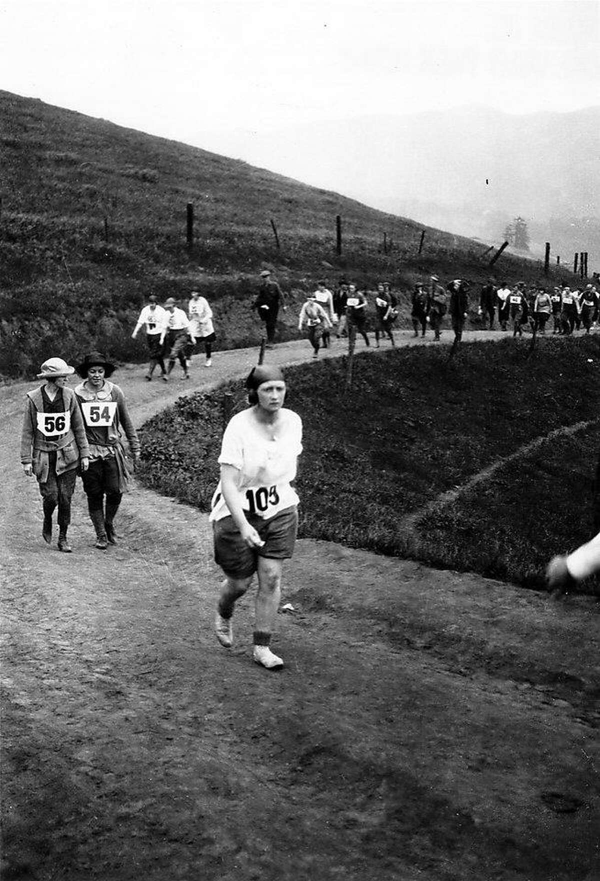 """Photo 1: These runners were among the first women to participate in the Dipsea women's """"hike,"""" which was held between 1918 and 1922.Photo 2: Women make their way along the Dipsea course.Photo 3: Edith Hickman of San Francisco was the winner of the first women's Dipsea race on April 21, 1918."""