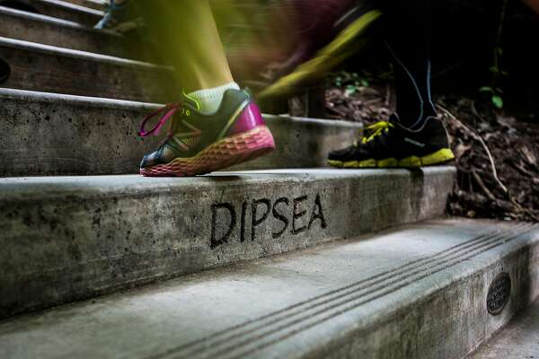 Runners climb the Lower Dipsea Stairs during the 105th annual Dipsea Race in Mill Valley, Calif. on Sunday, June 14, 2015.
