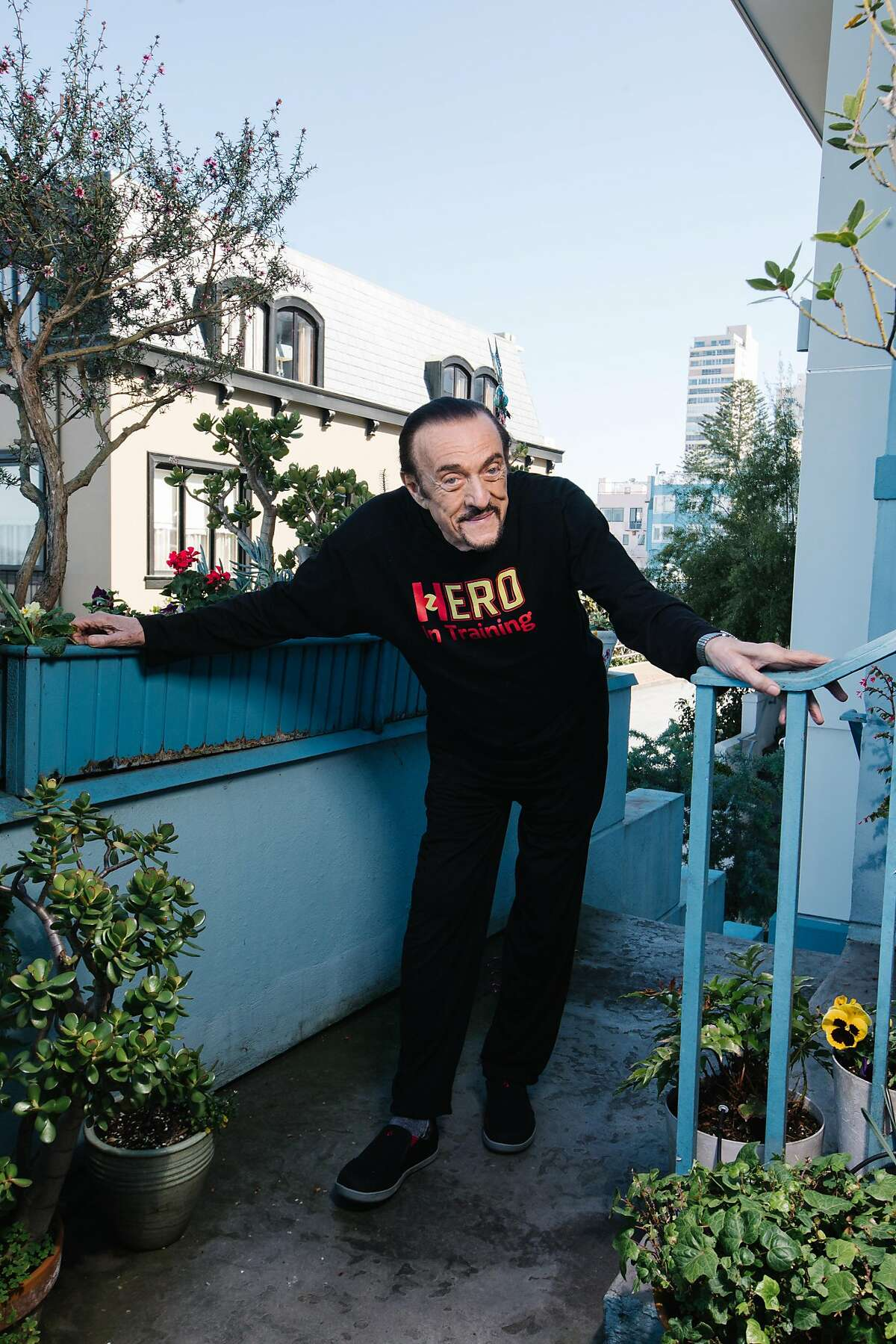 Philip Zimbardo on the porch of his home on Russian Hill in San Francisco, where he's lived for 45 years.