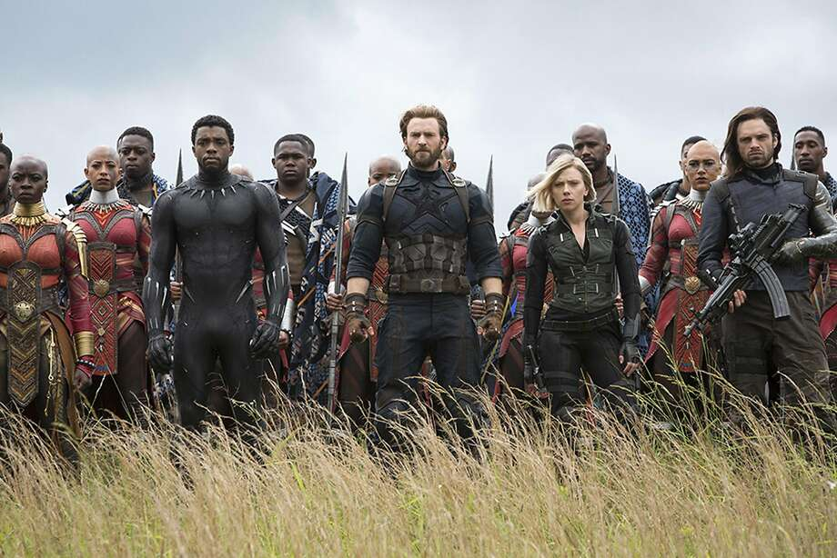 "Returnees for ""Avengers: Infinity War"" include Okoye (Danai Gurira), Black Panther (Chadwick Boseman), Steve Rogers (Chris Evans), Black Widow (Scarlet Johansson) and the former Winter Soldier (Sebastian Stan). (Chuck Zlotnick/Marvel Studios) Photo: Chuck Zlotnick/Marvel Studios, TNS"