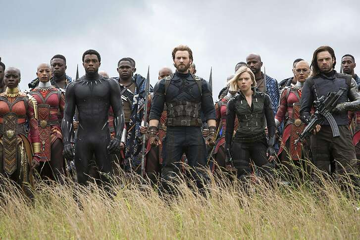 "Returnees for ""Avengers: Infinity War"" include Okoye (Danai Gurira), Black Panther (Chadwick Boseman), Steve Rogers (Chris Evans), Black Widow (Scarlet Johansson) and the former Winter Soldier (Sebastian Stan). (Chuck Zlotnick/Marvel Studios)"