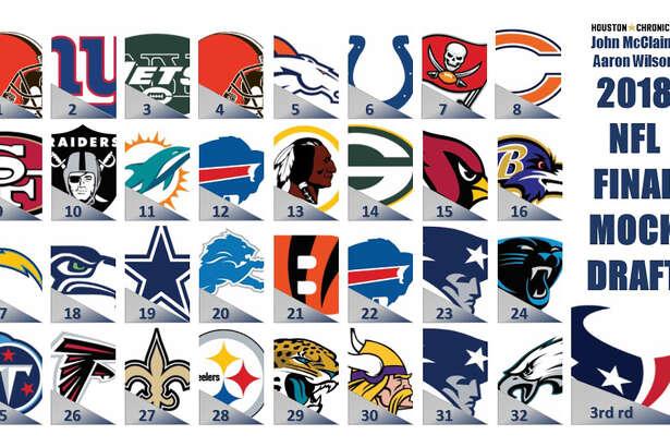 Houston Chronicle's John McClain and Aaron Wilson make their picks in the final installment of the 2018 NFL mock draft. Logos via NFL.