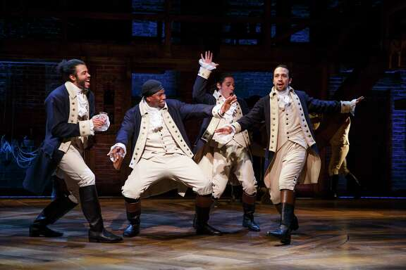 Daveed Diggs as Marquis de Lafayette, Okieriete Onaodowan as Hercules Mulligan, Anthony Ramos as John Laurens, and Lin-Manuel Miranda as Alexander Hamilton in HAMILTON.  Credit: Joan Marcus