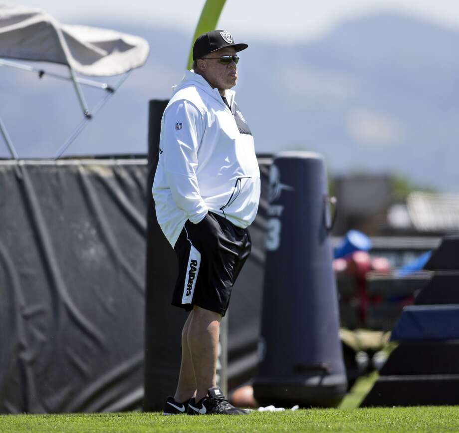 Oakland Raiders general manager Reggie McKenzie watches practice during NFL football rookie minicamp, Friday, May 5, 2017, at Raiders headquarters in Alameda, Calif. Photo: D. Ross Cameron / Associated Press