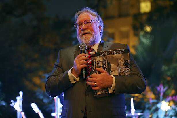 Mike Leary editor of the San Antonio Express-News, speaks during the SA150th gala at the Alamo on Saturday Sept. 26, 2015. Dignitaries celebrated the 150th anniversary of the founding of the San Antonio Express-News.