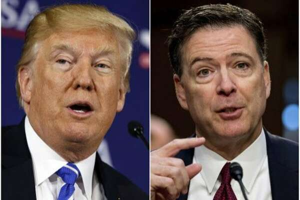 "This combination photo shows President Donald Trump speaking during a roundtable discussion on tax policy in White Sulphur Springs, W.Va., on April 5, 2018, left, and former FBI director James Comey speaking during a Senate Intelligence Committee hearing on Capitol Hill in Washington on June 8, 2017. Trump fired off a series of tweets ahead of Comey's first interview on his book, ""A Higher Loyalty: Truth, Lies, and Leadership,"" which offers his version of the events surrounding his firing as FBI director by Trump. The interview will air Sunday night on ABC. (AP Photo/Evan Vucci, left, and Andrew Harnik)"