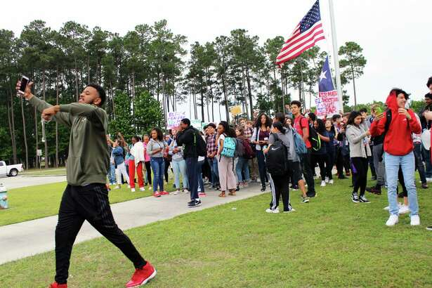 Atascocita High School students walked out of their classrooms to join the national walkout in remembrance of the Columbine High School shooting in Columbine, Colo. in 1999 and the recent school shootings such as the  Stroneman Douglas High School shooting in Parkland, Fla.