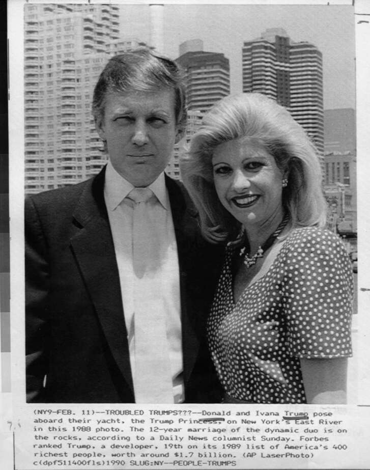 Donald and Ivana Trump pose aboard their yacht, the Trump Princess, in  1988. New reporting photo. The 12-year marriage of the dynamic duo is on the rocks, according to a Daily News columnist Sunday. Forbes ranked Trump, a developer, 19th on its 1989 list of America's 400 richest people, worth around $1.7 billion. AP LaserPhoto. HOUCHRON CAPTION (01/20/2002): Donald and Ivana Trump's marital meltdown was news.