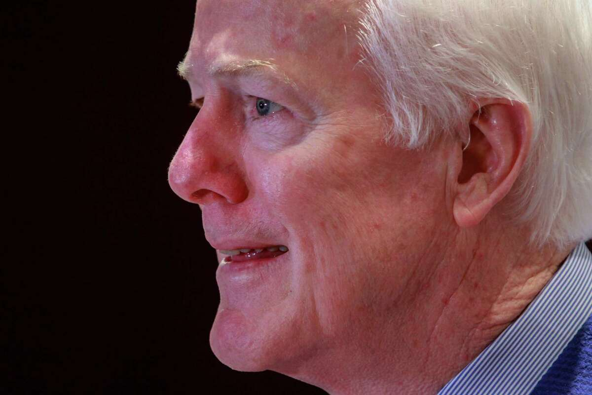 Sen. John Cornyn speaking at the Greater Houston Partnership luncheon. (For the Chronicle/Gary Fountain, April 20, 2018)