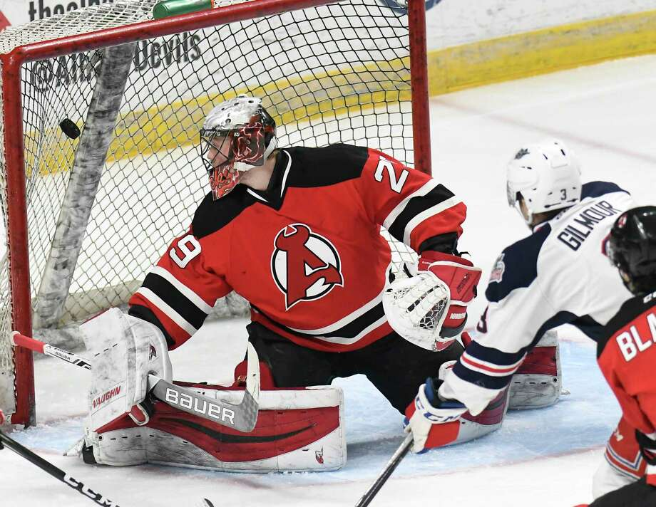 Albany Devils goalie Mackenzie Blackwood (29) reacts after being scored on  by Hartford Wolf 1f240a67d