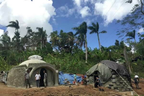 The Earthship site at the TainaSoy Apiario in Aguada, Puerto Rico. It's the first in Puerto Rico. These Earthships are self-sustainable, hurricane-resistant structures.