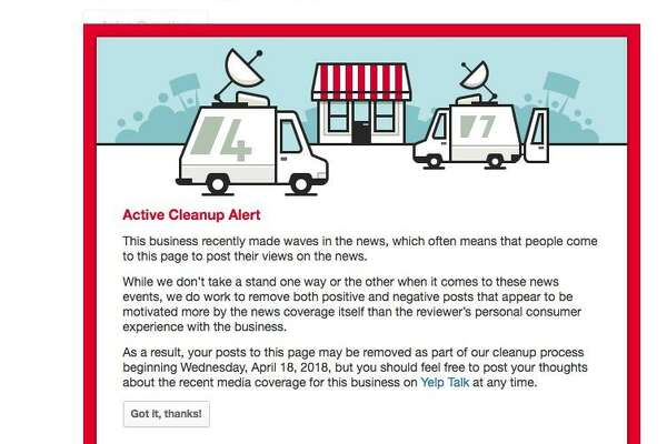"""An """"Active Cleanup Report"""" appears on Yelp pages for businesses that are attracting attention from non-customers based on news reports."""