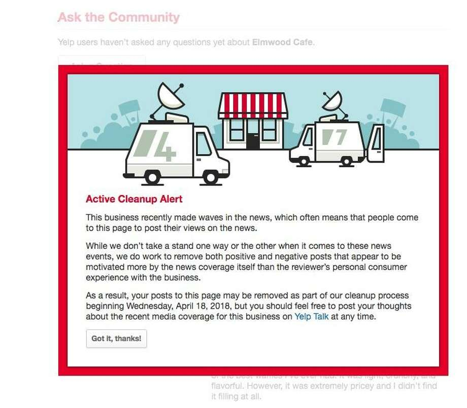 """An """"Active Cleanup Report"""" appears on Yelp pages for businesses that are attracting attention from non-customers based on news reports. Photo: Yelp"""