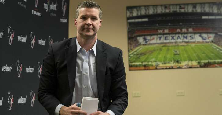 Houston Texans general manager Brian Gaine leaves his introductory news conference at NRG Stadium on Wednesday, Jan. 17, 2018, in Houston. Gaine is the Texans third general manger in team history. ( Brett Coomer / Houston Chronicle )