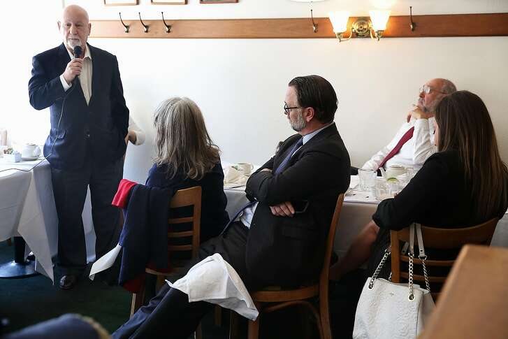 Judge Anthony Kline (far left) and co-founder of Public Advocates asks questions during a debate about a recall of judge Aaron Persky at Hayes Valley Grill on Friday, April 20, 2018, in San Francisco, Calif.
