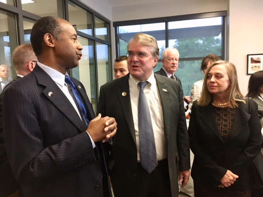 "HUD Secretary Ben Carson, left, has called a fair housing rule ""social engineering. "" Carson appeared in April with U.S. Rep. John Culberson, R-Houston, and West University Place Mayor Susan Samples at Southside Place Police & Fire Department. Photo: Handout, John Culberson / John Culberson"