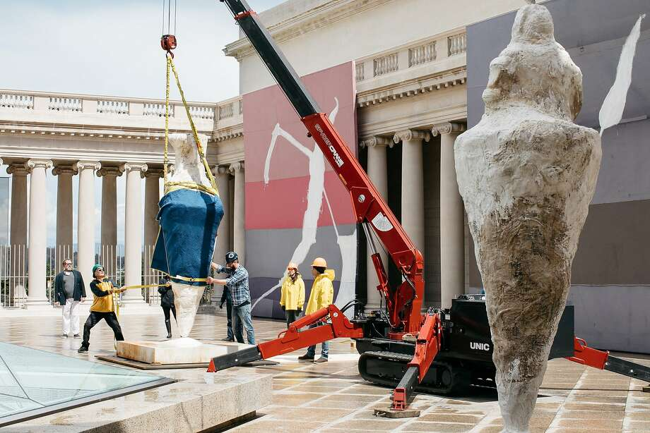 Crew prepare the installation of Julian Schnabel's exhibition at the Legion of Honor In San Francisco, Calif., Monday, April 16, 2018. Photo: Mason Trinca / Special To The Chronicle