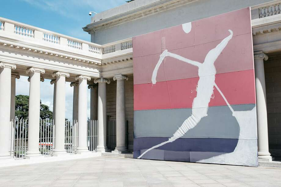 """Julian Schnabel's exhibition, """"Julian Schnabel: Symbols of Actual Life,"""" seen in the courtyard of the Legion of Honor In San Francisco, Calif., Monday, April 16, 2018. Schnabel has created  24 feet x 24 feet paintings, on canvas he found in southern Mexico. Photo: Mason Trinca / Special To The Chronicle"""