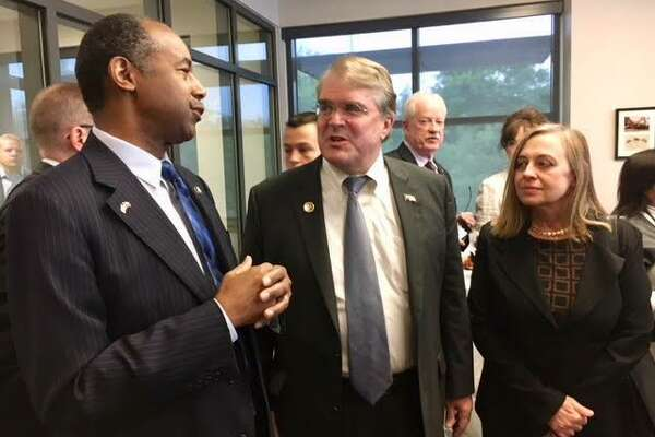 U.S. Rep. John Culberson with HUD Secretary Ben Carson and West University Mayor Susan Sample at Southside Place Police & Fire Department.