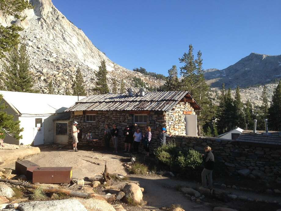 Visitors gather before dinner at Vogelsang High Sierra Camp. Photo: Eric Gustafson