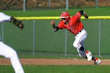 Fairfield Prep's Adam Stone takes for second in a steal attempt during baseball action against Foran in Milford, Conn., on Friday Apr. 20, 2018.