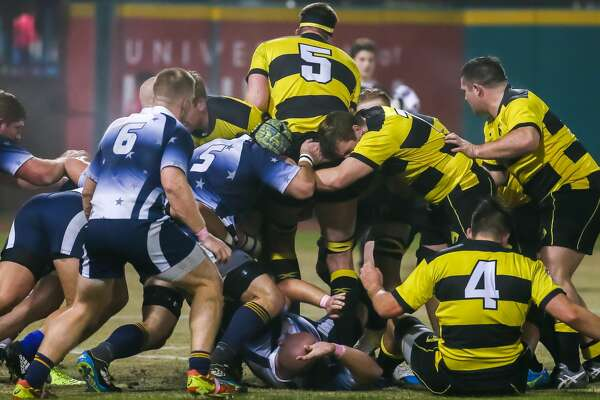 SUGAR LAND, TX - FEBRUARY 03:  Houston SaberCats lock Justin Allen (5) gets pinned after the line out during the Major League Rugby match between the Capital Selects and Houston SaberCats on February 3, 2018 at Constellation Field in Sugar Land, Texas.  (Photo by Leslie Plaza Johnson/Icon Sportswire via Getty Images)