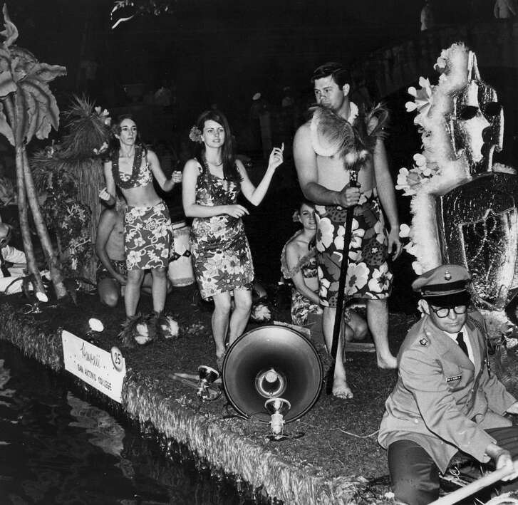 "San Antonio College's float called ""Hawaii"" in the 1967 river parade."