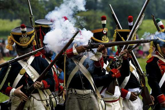 Mexican Army reencators fire on the Texian Army at the San Jacinto Day Festival and Battle Reenactment Saturday, April 22, 2017 in La Porte. ( Michael Ciaglo / Houston Chronicle)