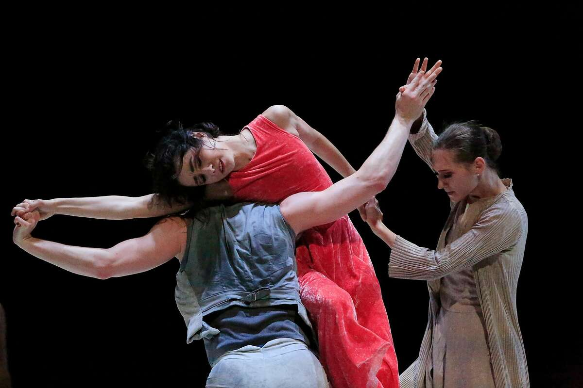 """Ulrik Birkkjaer (l to r) Mathilde Froustey, and Sarah Van Patten perform in Cathy Marston's """"Snowblind"""" during a dress rehearsal for Program B of Unbound the New Works Festival at San Francisco Ballet in San Francisco, Calif., on Friday, April 20, 2018."""