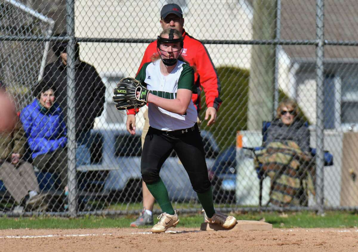 Norwalk High School softball game action against Norwich Free Academy played at at Norwalk High School on Friday April 20, 2018, in Norwalk, Connecticut.