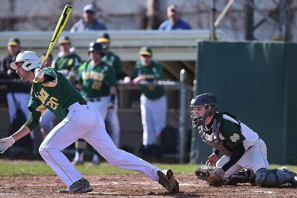 Hamden's Jake Pisano hit two singles and drove in two runs against Notre Dame-West Haven, Friday, April 20, 2018, at Robert Greenwood Memorial Field at Quigley Stadium in West Haven. The Green Dragons won, 7-2.