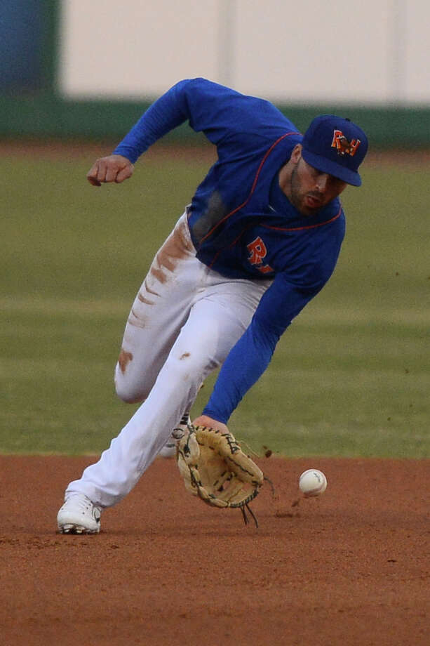 RockHounds second baseman J.P. Sportman grabs a line drive hit by San Antonio Missions, April 20, 2018, at Security Bank Ballpark. James Durbin/Reporter-Telegram Photo: James Durbin