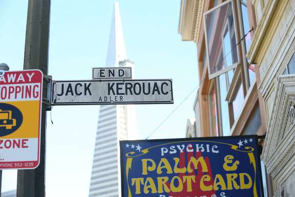 Jack Kerouac street sign also has the original Adler street name below the sign seen here on Friday, April 20, 2018, in San Francisco, Calif.