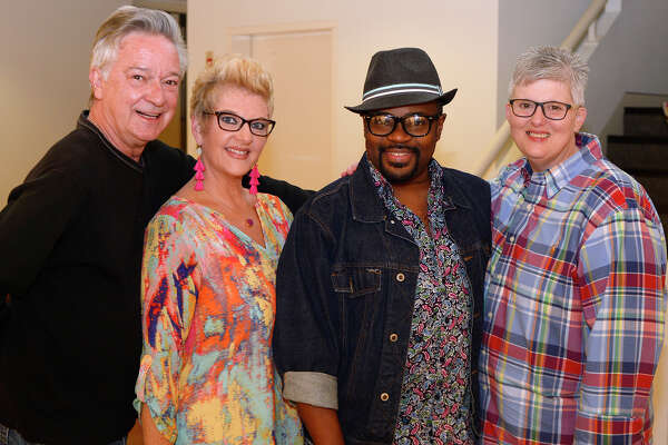 Les Warren, Bryanne Tyler, John Gray and Leigh Tyler at the Boomtown Film and Music Festival screening at the Dishman Art Museum.  Photo taken Friday 4/20/18 Ryan Pelham/The Enterprise